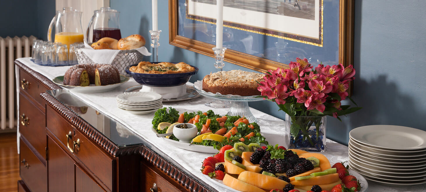 Breakfast buffet at our Marblehead bed and breakfast