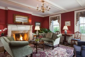 Common area with fireplace at our hotel near Salem, MA