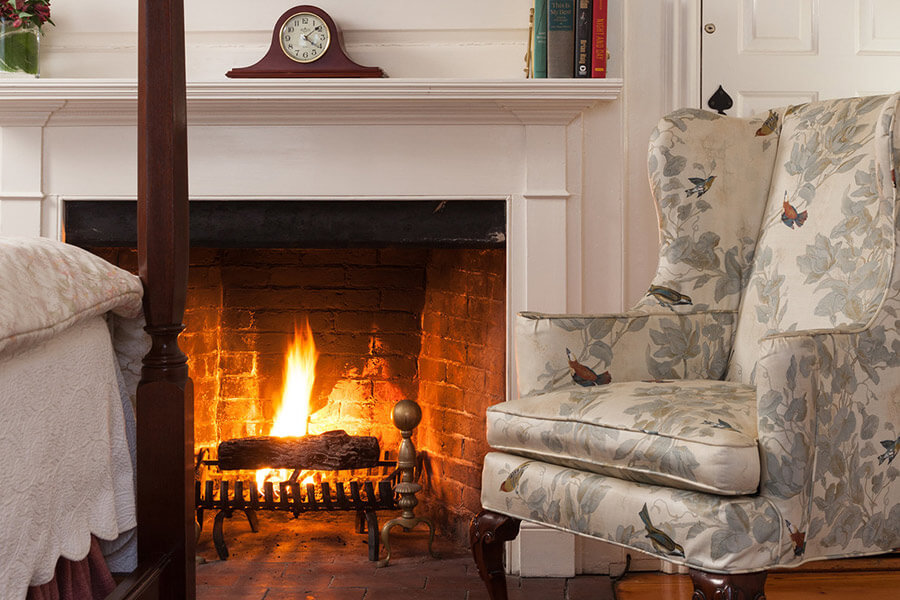 cozy fire in guest room