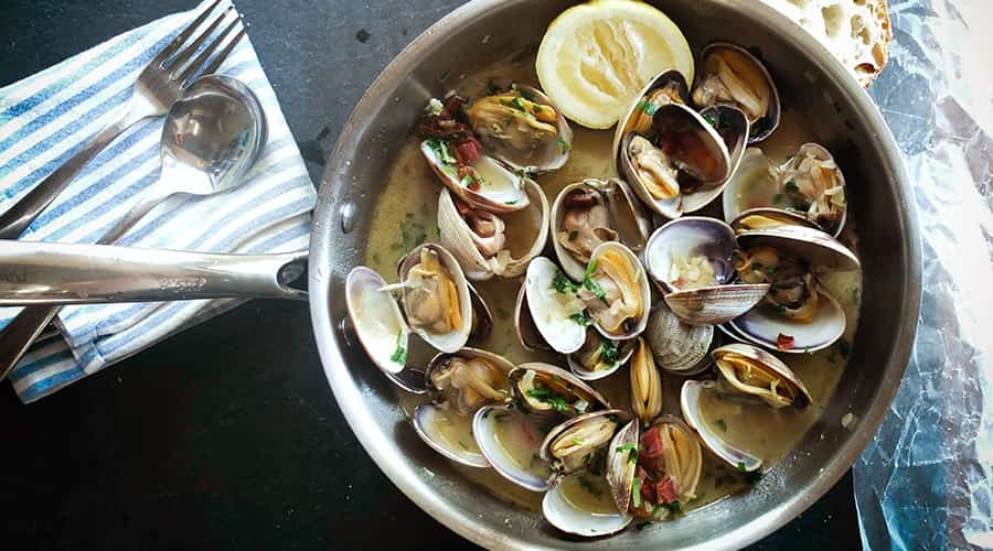 Steamed clams with lemon on our Marblehead seafood trail